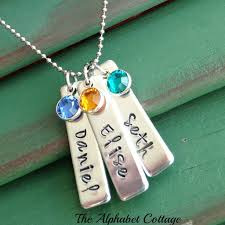 Necklace With Name Mother U0027s Necklace With Name Bars U0026 Birthstones U2013 The Alphabet Cottage