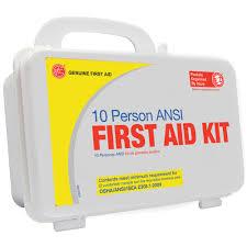 genuine first aid 10 person ansi osha first aid kit u2014 plastic case