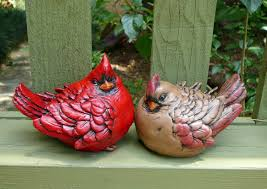 cardinal bird home decor cardinal pair cement concrete red bird figurines garden