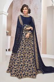 anarkali wedding dress wedding wear anarkalis buy uae navy blue embroidered