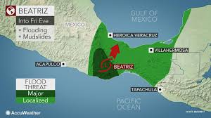 Mexico Toll Road Map by Tropical Rainstorm Beatriz Inundates Southern Mexico