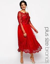 cheap red lace plus size evening dresses square neck long sleeve