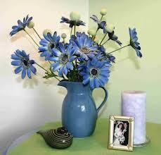 home decoration blue artificial floral arrange with blue vase