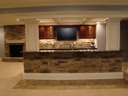 interior exposed brick stone for basement bar counter and