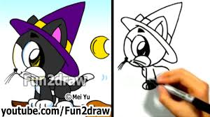 how to draw a cat cute kitty halloween witch cat fun2draw
