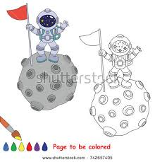 spaceman planet colored coloring stock vector 628282100