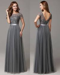 dress for wedding party grey modest bridesmaid dresses with cap sleeves lace tulle
