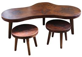 Leather And Wood Coffee Table Mid Century Peruvian Leather Coffee Table Stools Chairish