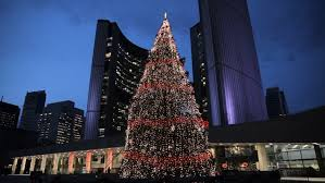 evening at toronto city with the tree light up and