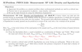 total si e solved si problem phys 2133 measurement sp 1 02 densi