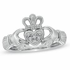 clatter ring diamond accent claddagh ring in 10k white gold diamond rings