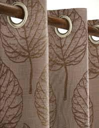 Chocolate Curtains Eyelet Rare Eyelet Lined Curtains Mink Beige Natural Green Leaf 66x90