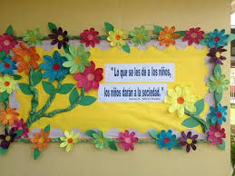 Spring Flower Bulletin Board Idea Not sure what it says but the