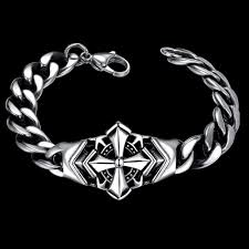 bracelet man silver stainless steel images Bracelets men punk cross stainless steel 8inches chain jpeg