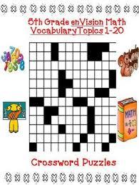 envision math 5th grade vocabulary crossword puzzles topics 1 20