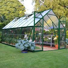 interior of the 12x16 garden deluxe greenhouse roof has white