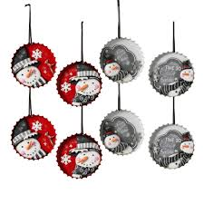 3 3 in bottle cap snowman ornaments with 4 assorted styles pack