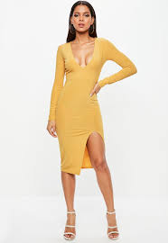 plunge dress mustard plunge thigh split metallic midi dress missguided