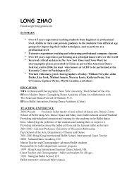 professional dance resume long u0027s resume