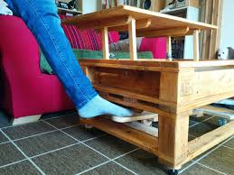 lift top coffee table with wheels pallet coffee table with lifting top and landing gear