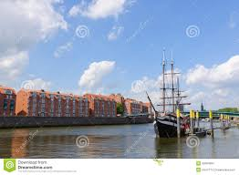 river port and the weser river in bremen germany stock images