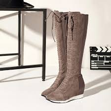 s wedge boots s wedge pointed toe genuine leather lace up knee high boots