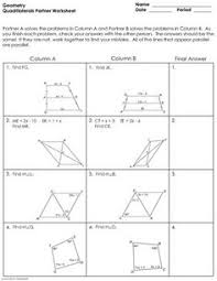properties of parallelograms worksheet quadrilaterals properties of quadrilaterals riddle worksheet