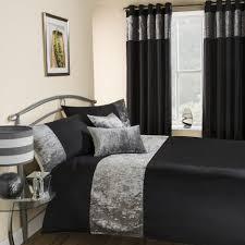 amalfi black crushed velvet quilt duvet cover tonys