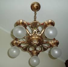 Ceiling Art Lights by 1930s Vintage Gold Art Deco Cast Iron Metal Ceiling Light Fixture