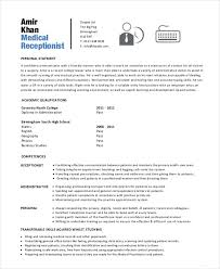 Resume Examples For Receptionist by Receptionist Resume Example 9 Free Word Pdf Documents Download
