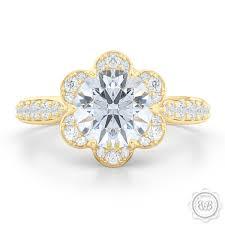 flower halo engagement ring flower inspired halo engagement ring bashert jewelry bashert