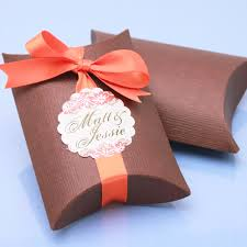 favor boxes for wedding brown linen pillow favor boxes 10 pcs brown wedding favor