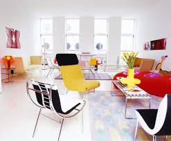 interesting colorful living room themed with cozy chair and white