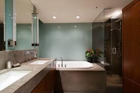 Contemporary Bathroom Wall Sconces Contemporary Master Bathroom With Drop In Bathtub U0026 Concrete