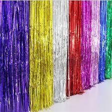 Gold Foil Curtain by 1m 2m 3m Foil Curtain Metallic Colors Gold Silver Blue Etc