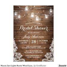 jar bridal shower invitations bridal shower jars lace lights rustic country chic barn