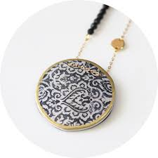 designer jewellery australia morocco lace illustrated necklace blue or black unique