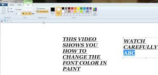 how to change font color in ms paint youtube