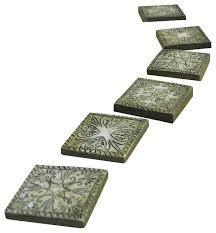 stepping stones ancient square set of 6 for miniature garden