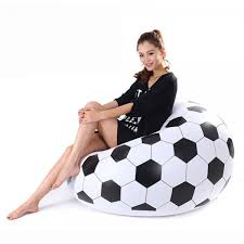 portable football pattern flocking fast inflatable lazy sofa chair