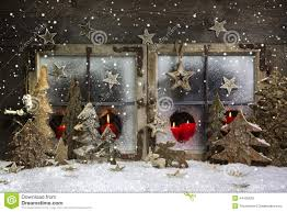 Lighted Christmas Window Decorations by Snow On Vintage Wooden Christmas Window Pane Stock Photo Image