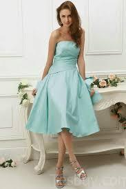 satin strapless pleated knee length light blue prom dresses buy