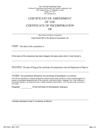 certificate of amendment ny sample fill online printable