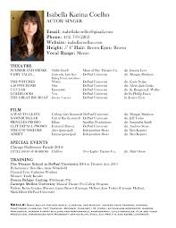 acting resume example sample resume for acting with list of training include list the sample resume for acting with list of training include list the type of class and the name of the instructor