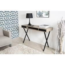 bureau console 2 tiroirs console rétro bois 2 tiroirs et pieds croisés métal noir