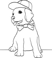 free printable puppy dog wearing baseball cap bow tie