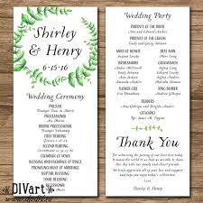 sle of a wedding program wedding order of event wedding ideas