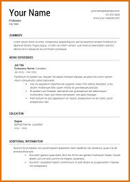 Blank Sample Resume by Printable Sample Resume Templates Resume Name
