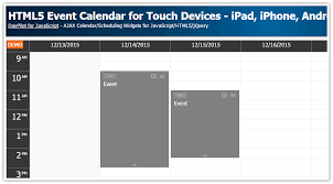 javascript tutorial demo html5 event calendar for touch devices ipad iphone android php