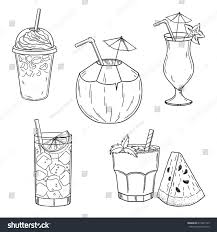 set hand drawn summer drinks iced stock vector 618437129